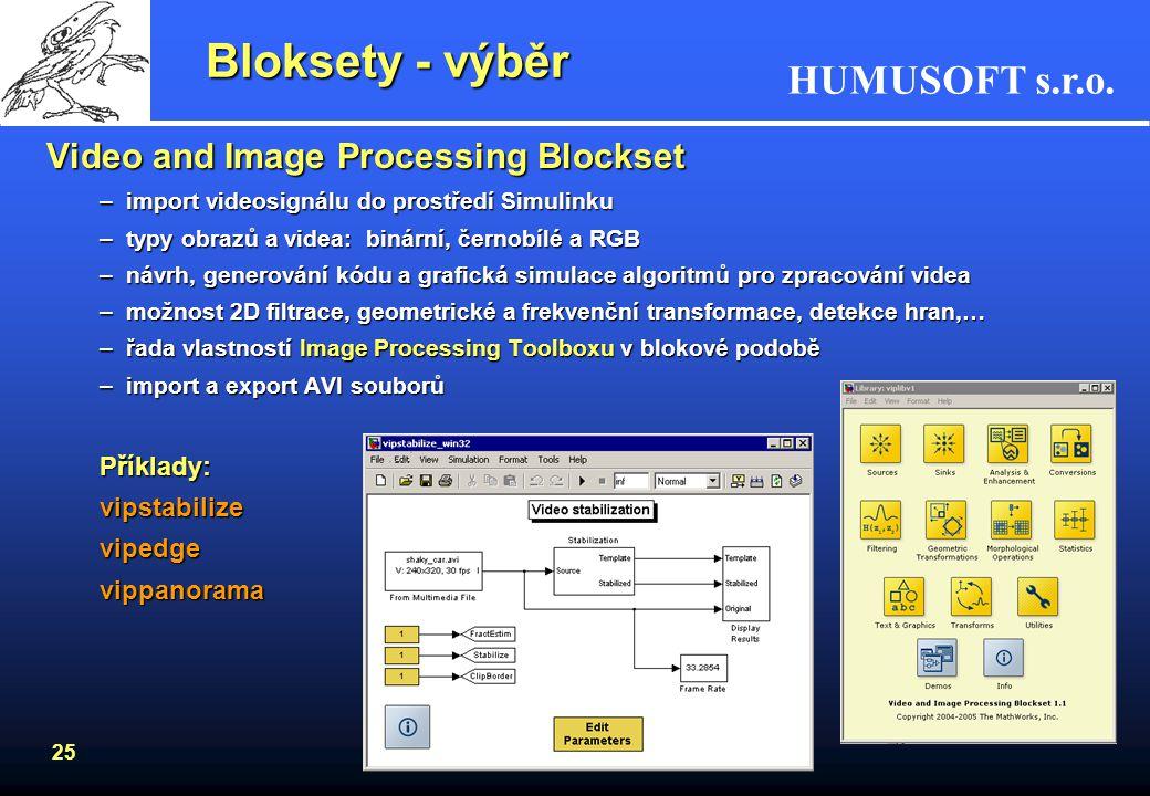 Bloksety - výběr Video and Image Processing Blockset Příklady:
