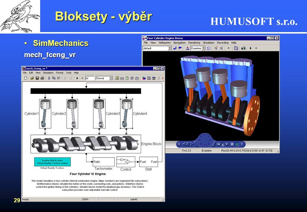 Bloksety - výběr SimMechanics mech_fceng_vr