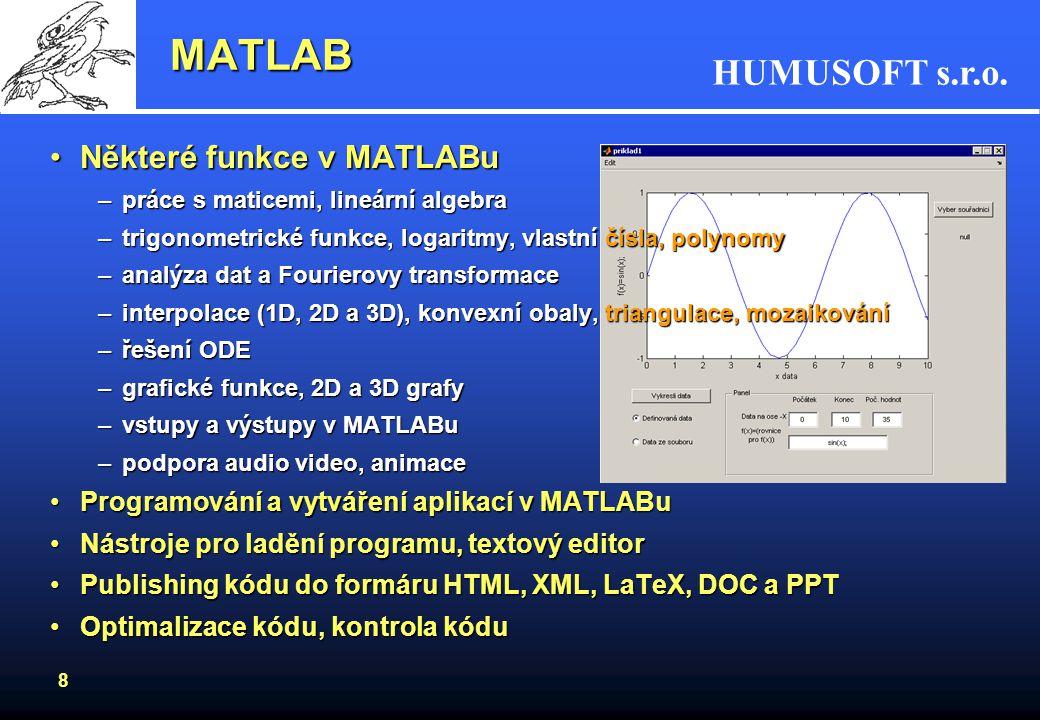 MATLAB Některé funkce v MATLABu