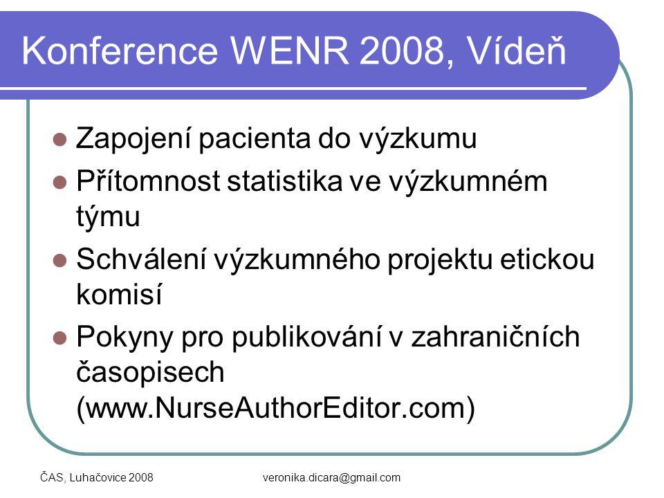 Konference WENR 2008, Vídeň Zapojení pacienta do výzkumu
