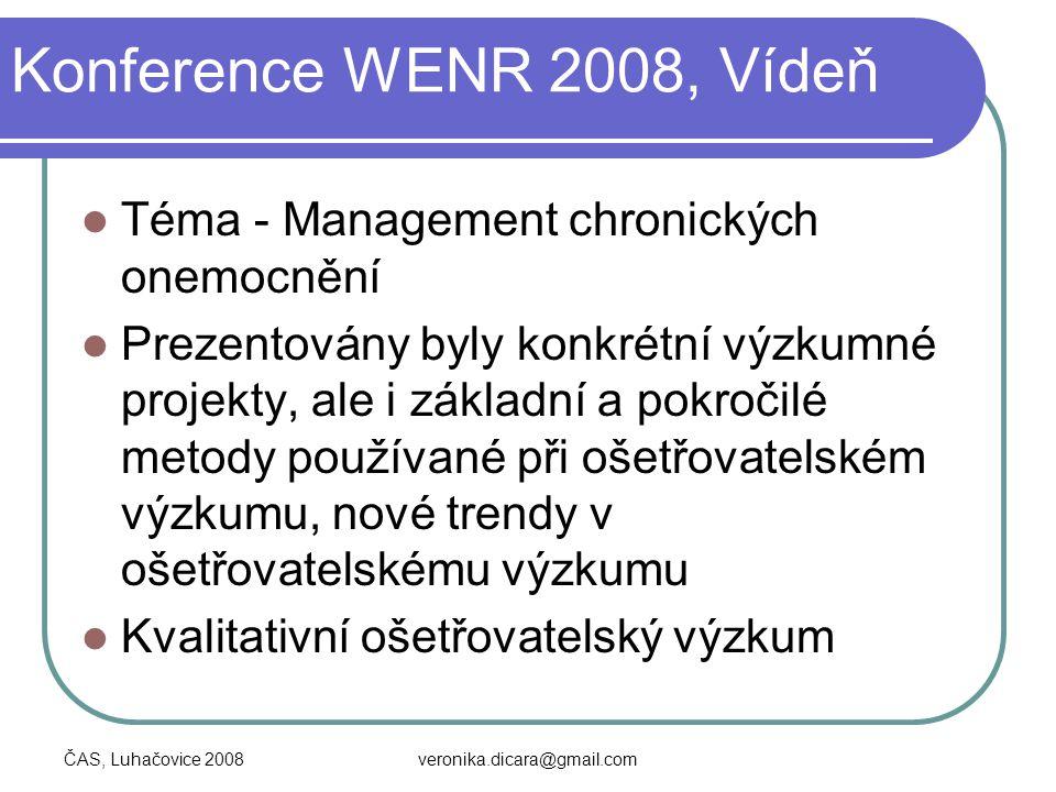 Konference WENR 2008, Vídeň Téma - Management chronických onemocnění