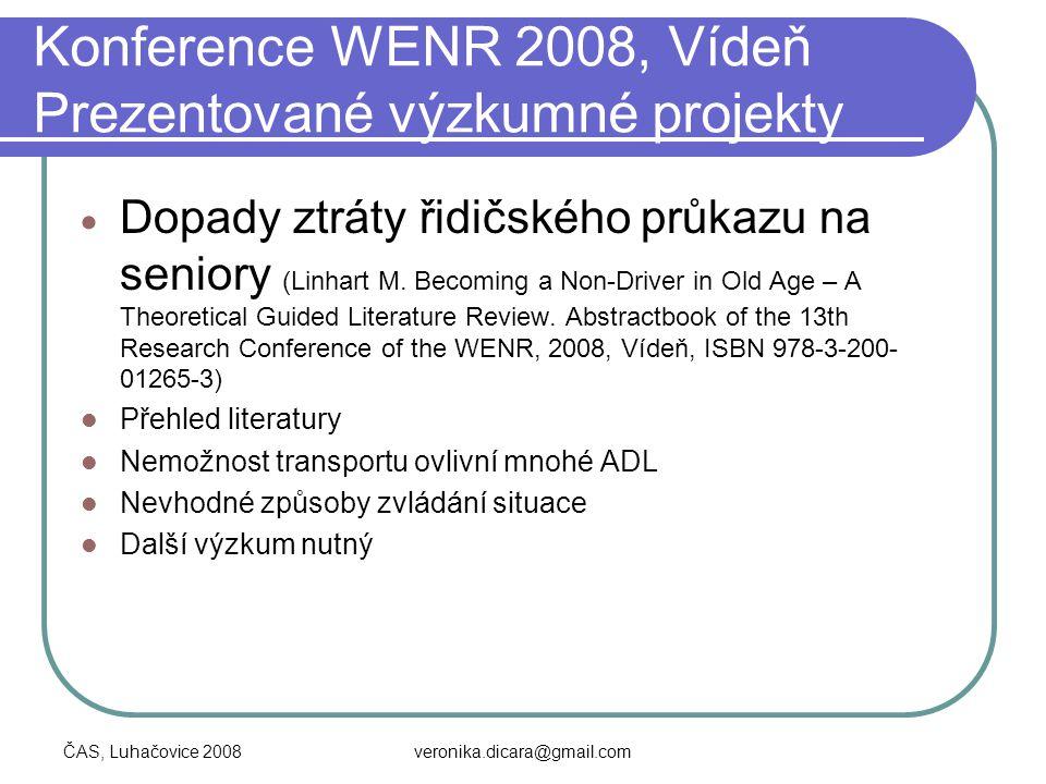 Konference WENR 2008, Vídeň Prezentované výzkumné projekty