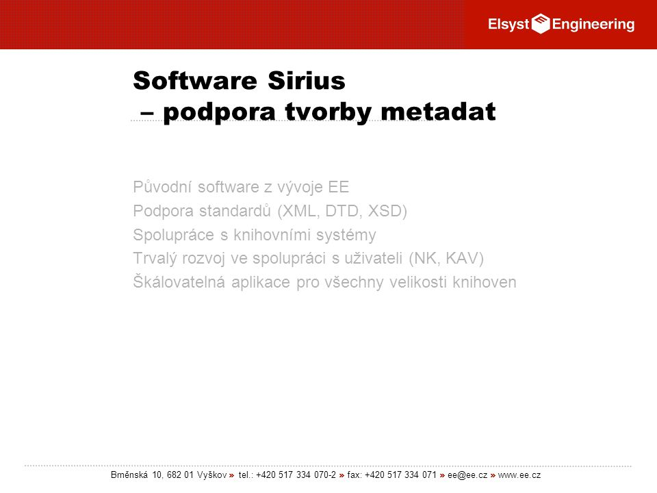 Software Sirius – podpora tvorby metadat
