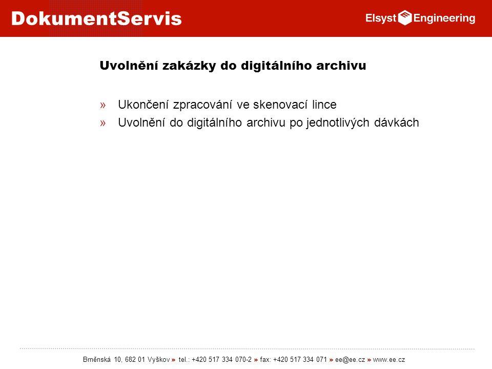 Uvolnění zakázky do digitálního archivu
