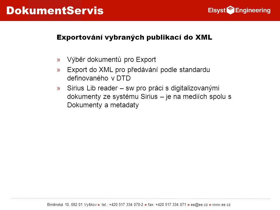 Exportování vybraných publikací do XML