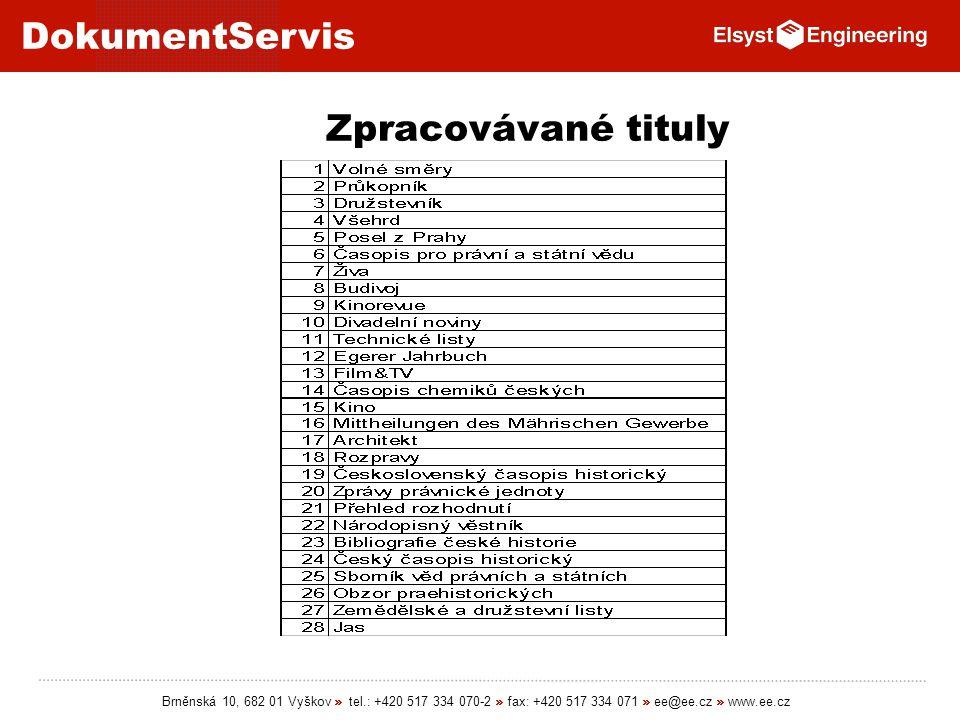Zpracovávané tituly Brněnská 10, 682 01 Vyškov » tel.: +420 517 334 070-2 » fax: +420 517 334 071 » ee@ee.cz » www.ee.cz.