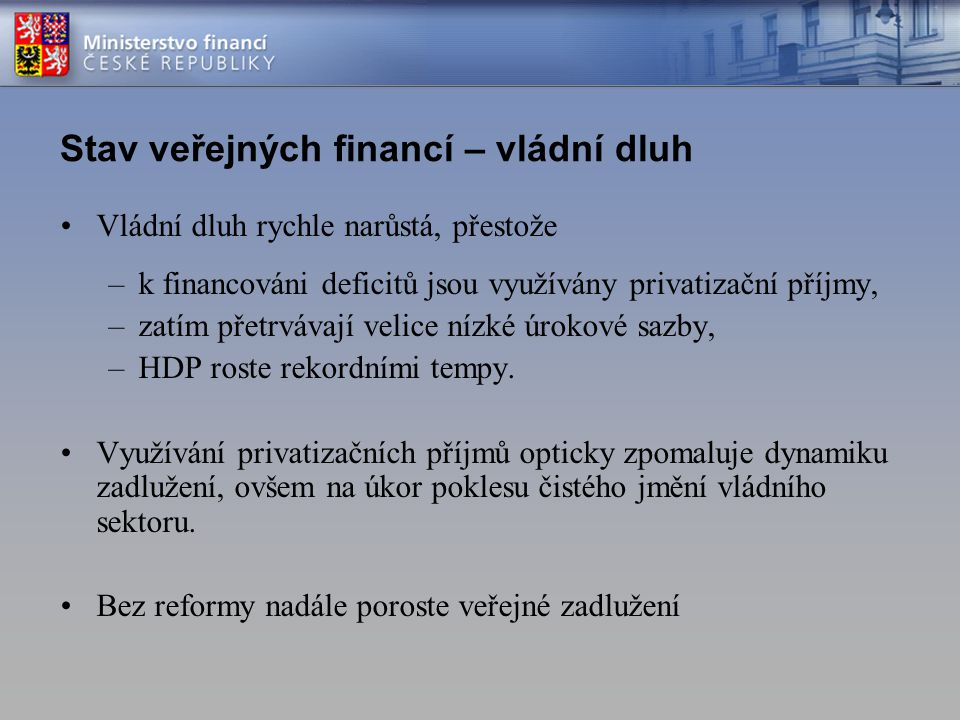 Stav veřejných financí – vládní dluh