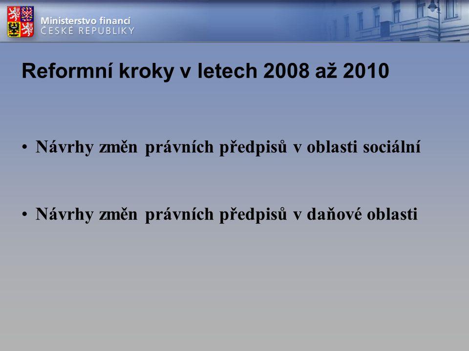 Reformní kroky v letech 2008 až 2010