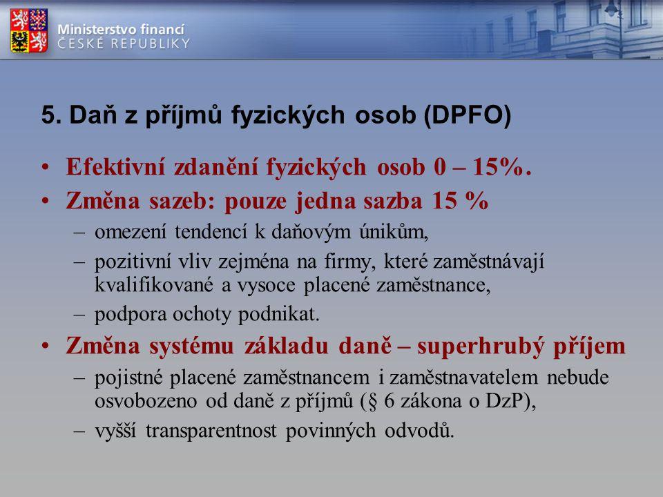 5. Daň z příjmů fyzických osob (DPFO)