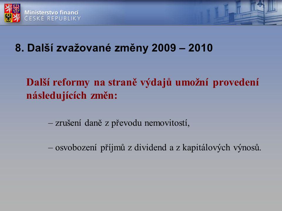 8. Další zvažované změny 2009 – 2010