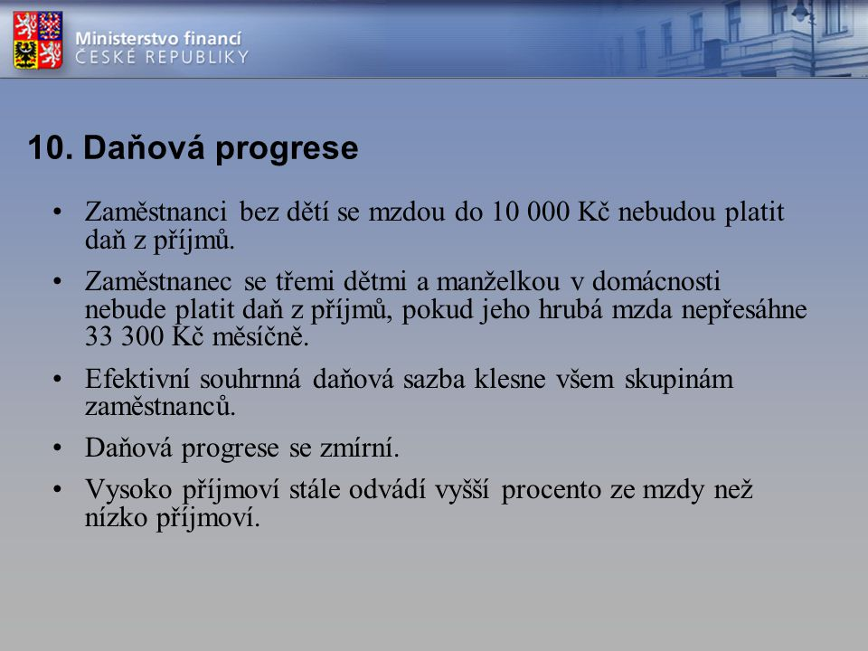 10. Daňová progrese Zaměstnanci bez dětí se mzdou do 10 000 Kč nebudou platit daň z příjmů.
