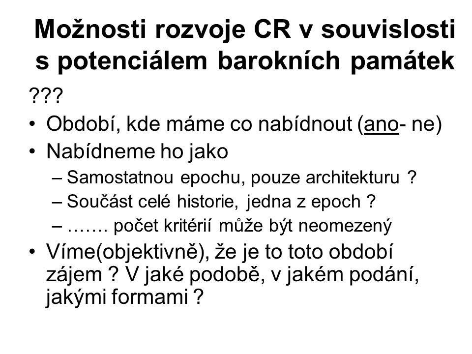 Možnosti rozvoje CR v souvislosti s potenciálem barokních památek