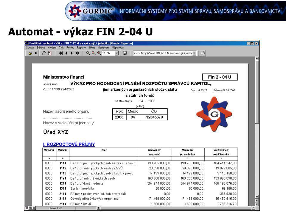 Automat - výkaz FIN 2-04 U