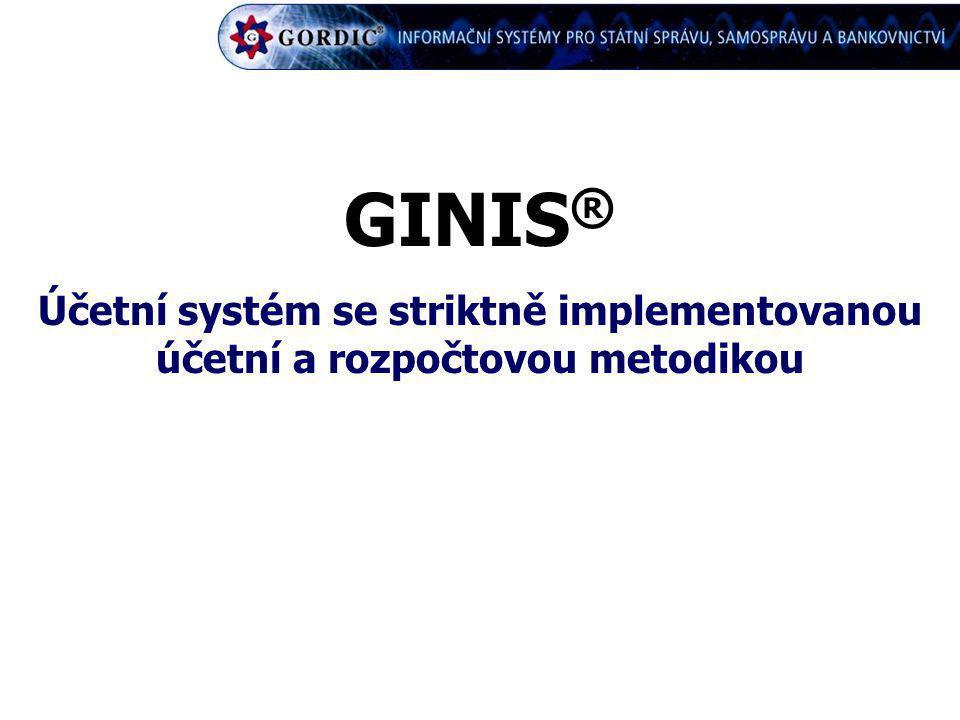 GINIS® Účetní systém se striktně implementovanou účetní a rozpočtovou metodikou
