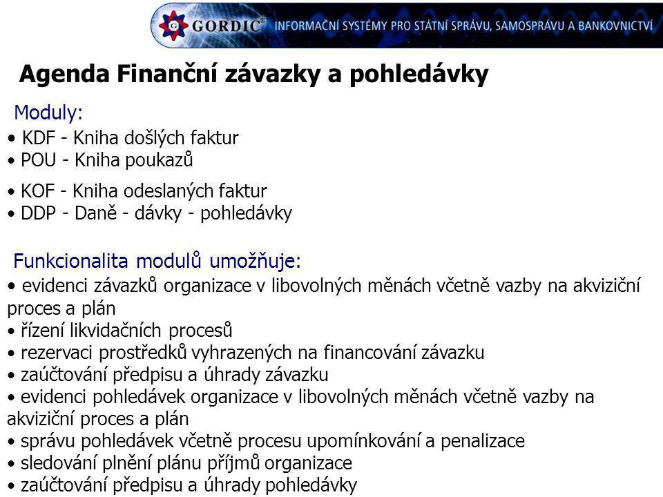 Agenda Finanční závazky a pohledávky