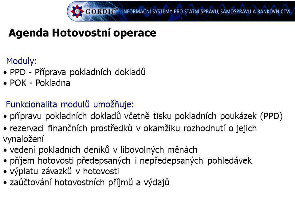 Agenda Hotovostní operace