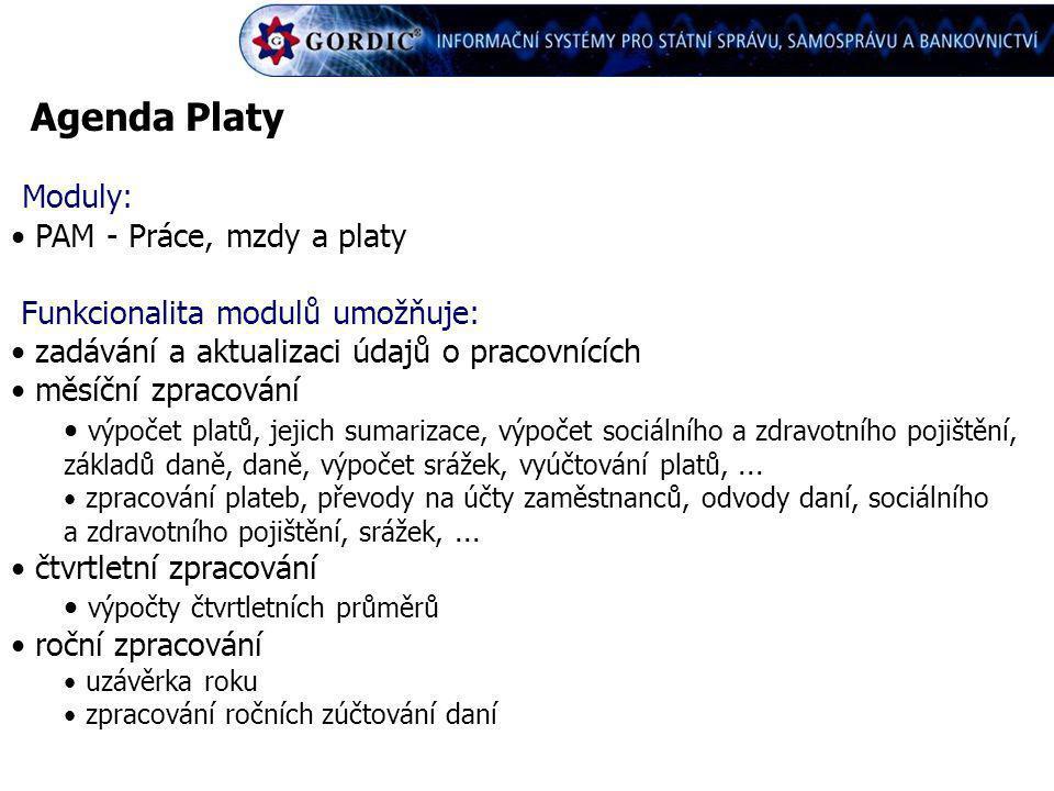 Agenda Platy Moduly: PAM - Práce, mzdy a platy