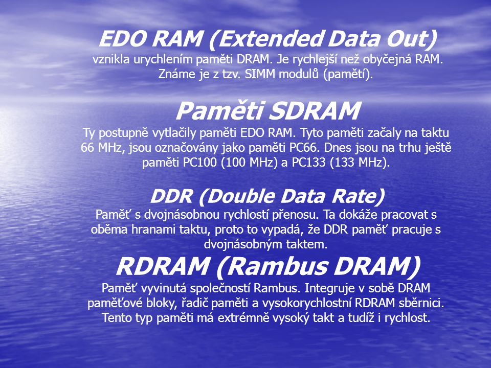 EDO RAM (Extended Data Out)