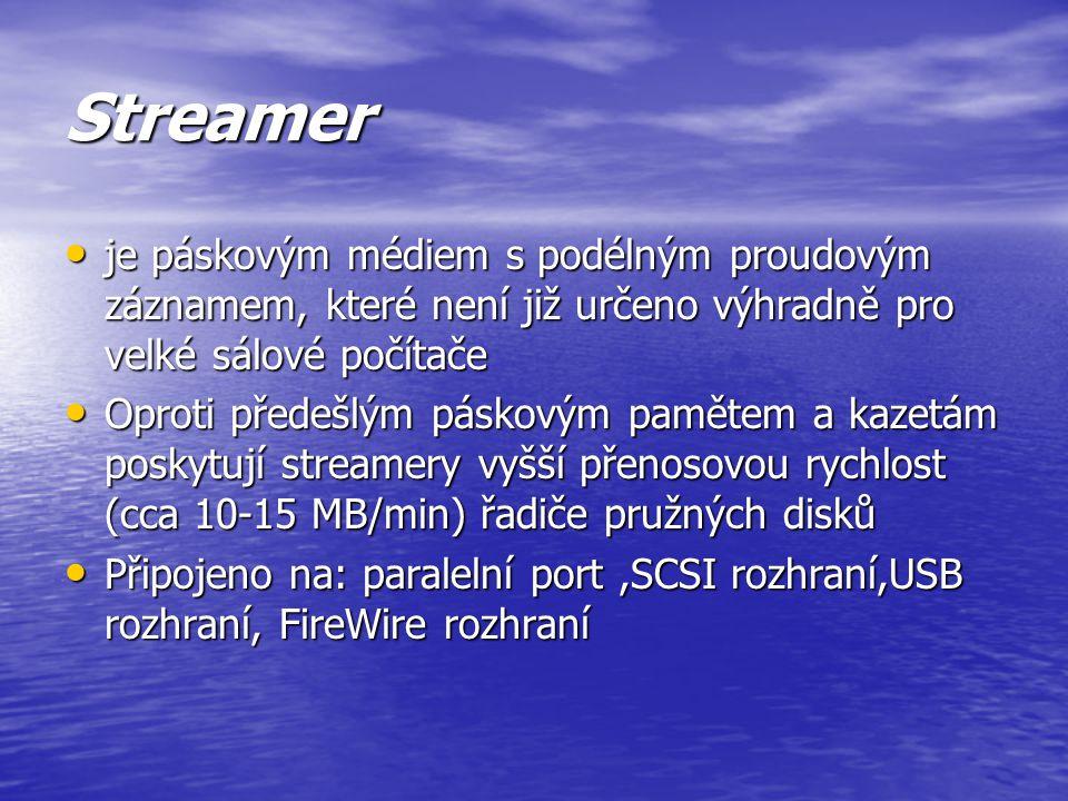 Streamer je páskovým médiem s podélným proudovým záznamem, které není již určeno výhradně pro velké sálové počítače.