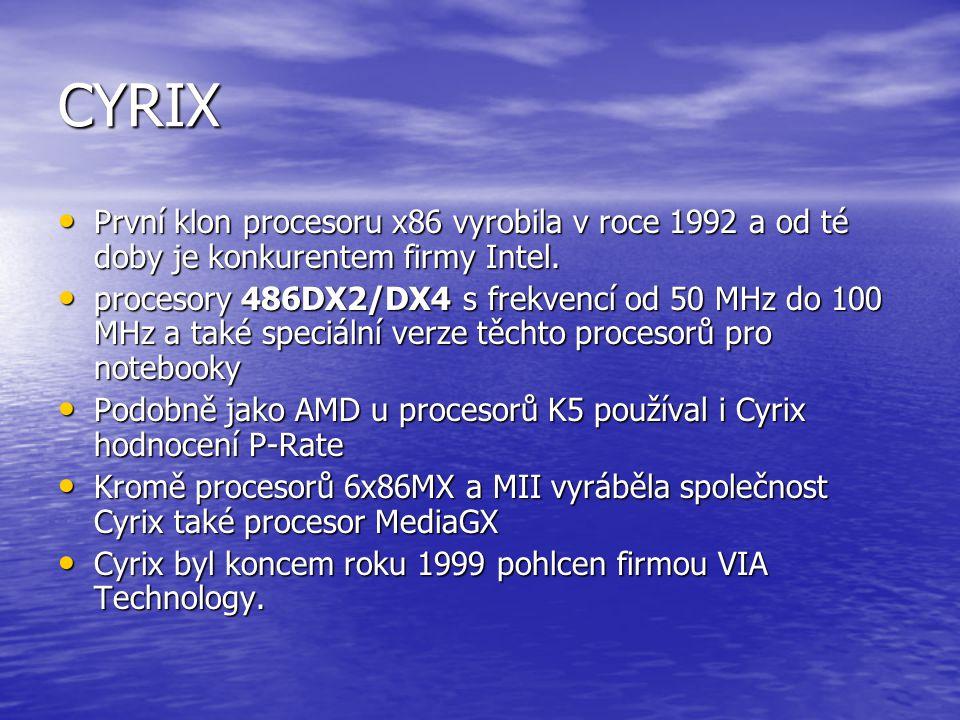CYRIX První klon procesoru x86 vyrobila v roce 1992 a od té doby je konkurentem firmy Intel.