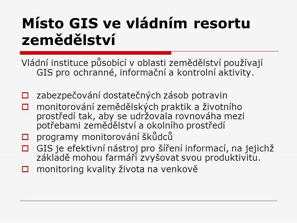 Místo GIS ve vládním resortu zemědělství