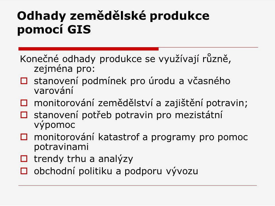 Odhady zemědělské produkce pomocí GIS