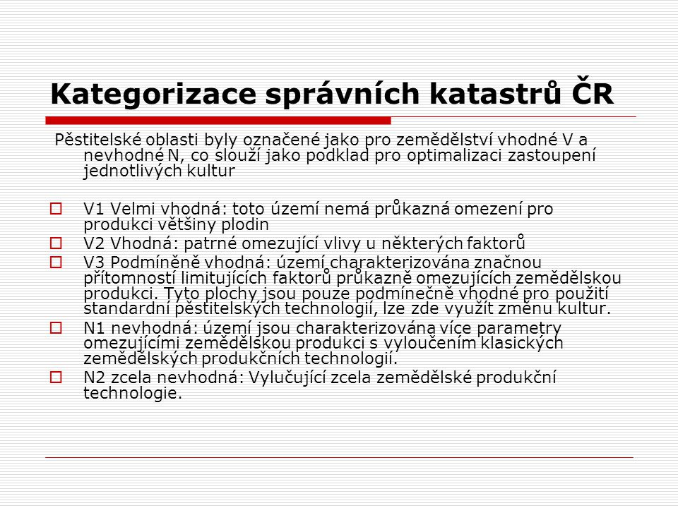 Kategorizace správních katastrů ČR