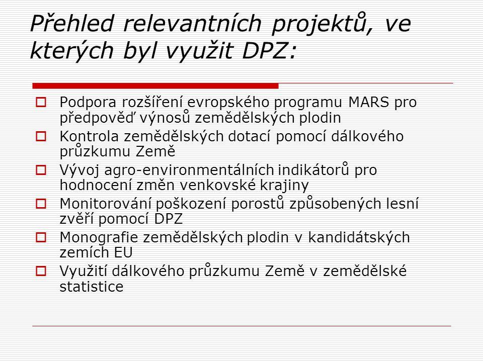 Přehled relevantních projektů, ve kterých byl využit DPZ: