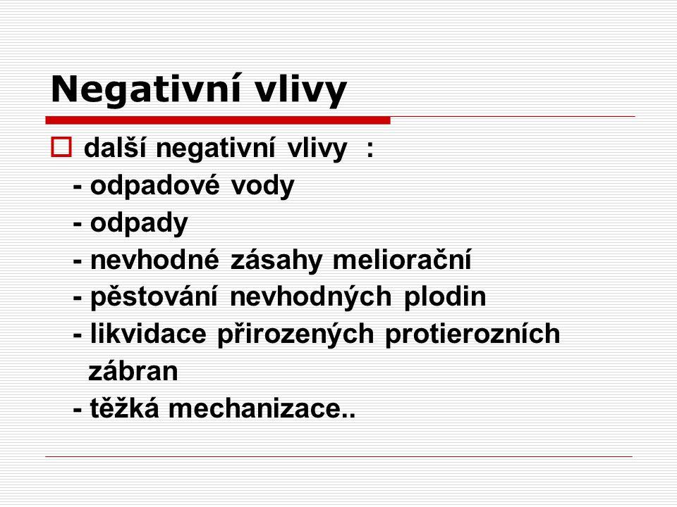 Negativní vlivy další negativní vlivy : - odpadové vody - odpady