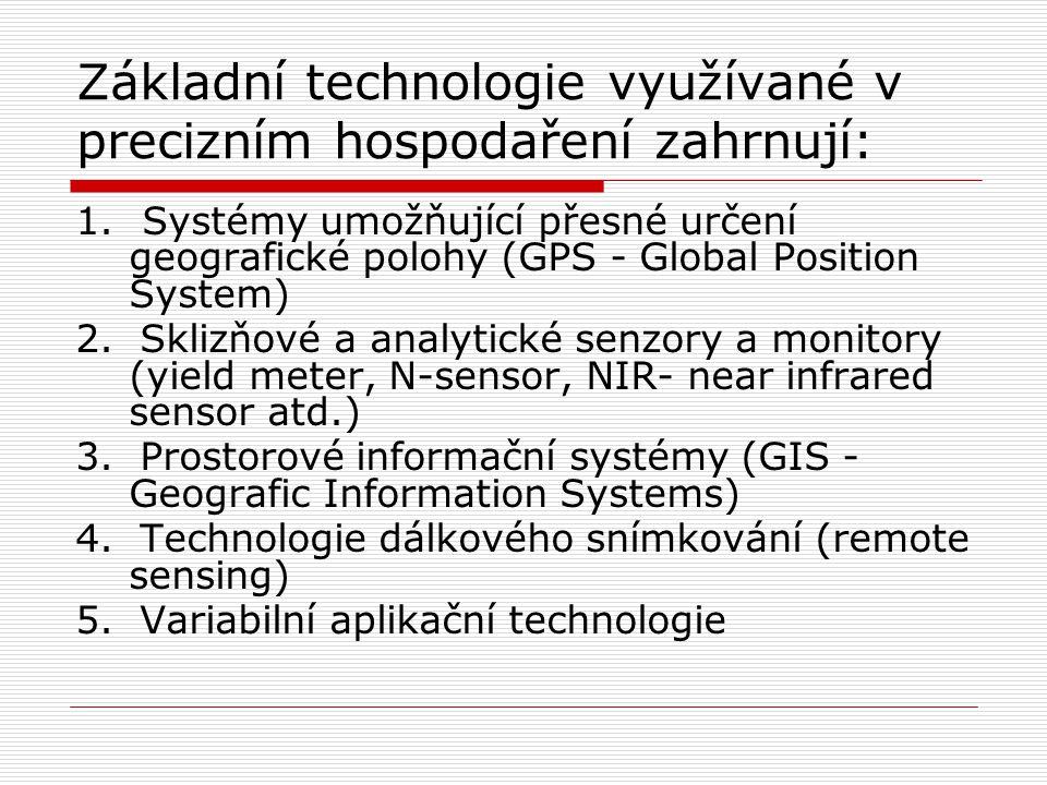 Základní technologie využívané v precizním hospodaření zahrnují:
