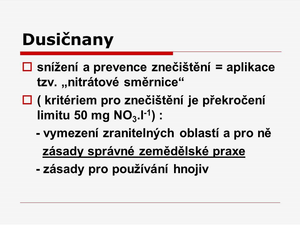 """Dusičnany snížení a prevence znečištění = aplikace tzv. """"nitrátové směrnice ( kritériem pro znečištění je překročení limitu 50 mg NO3.l-1) :"""
