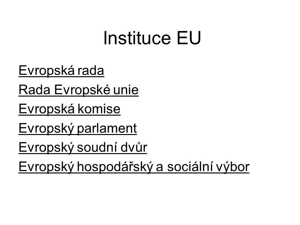 Instituce EU Evropská rada Rada Evropské unie Evropská komise