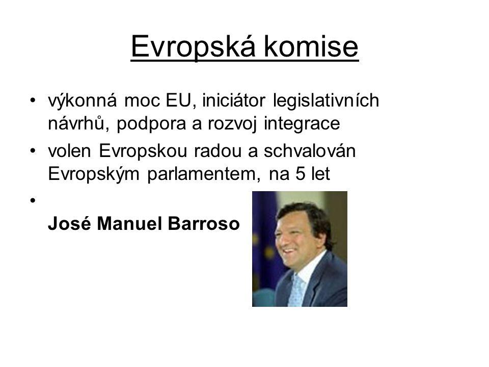 Evropská komise výkonná moc EU, iniciátor legislativních návrhů, podpora a rozvoj integrace.