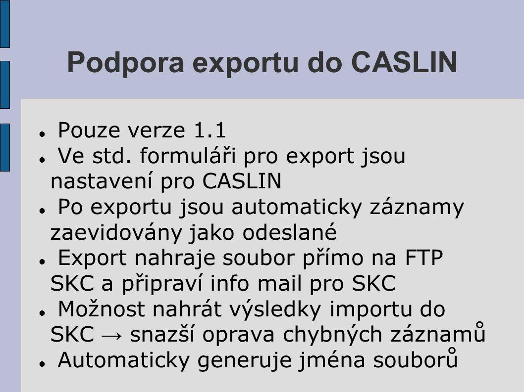 Podpora exportu do CASLIN