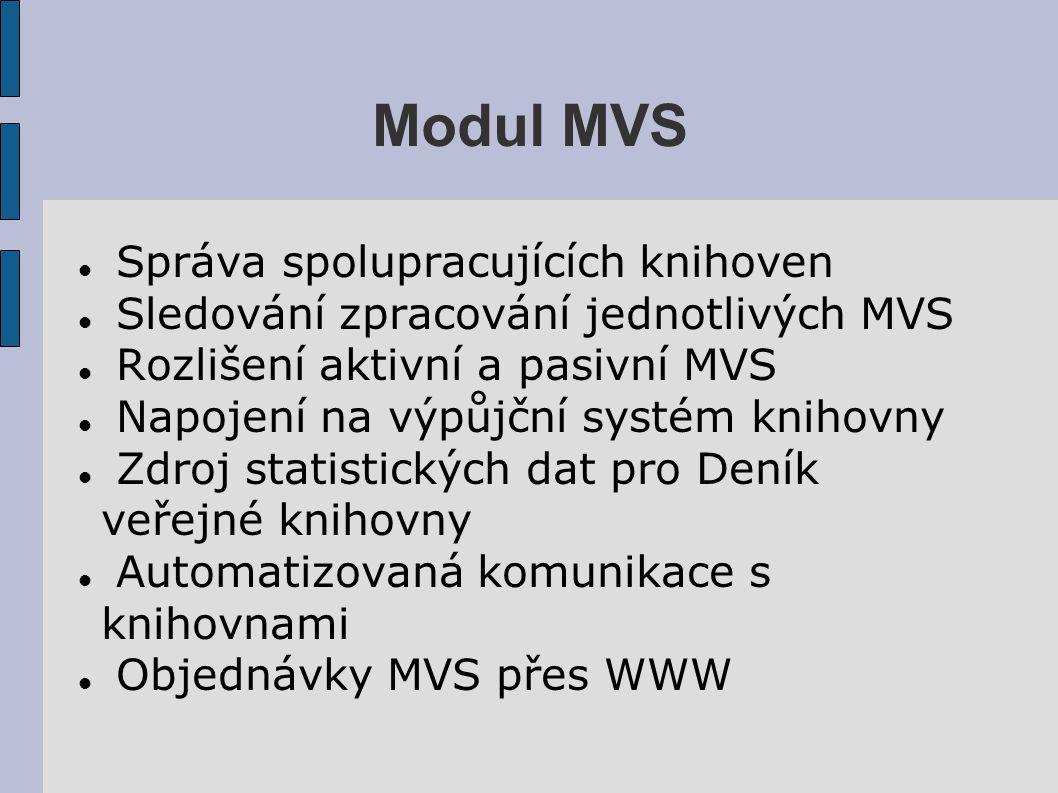 Modul MVS Správa spolupracujících knihoven