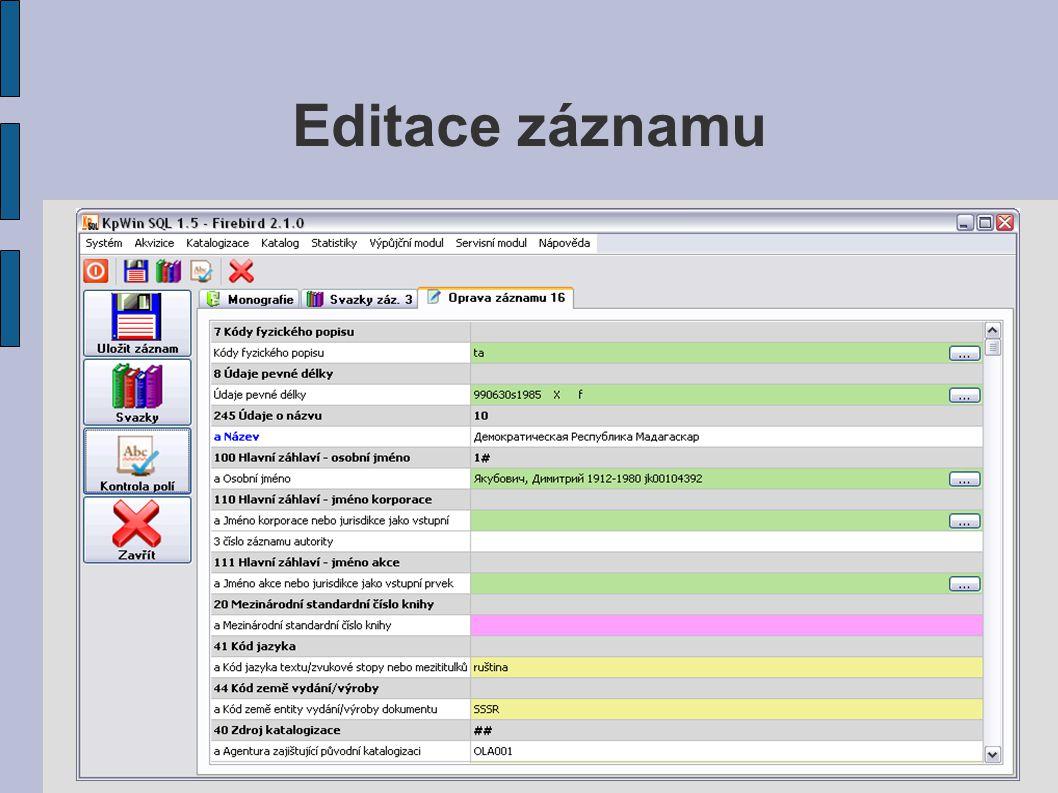 Editace záznamu