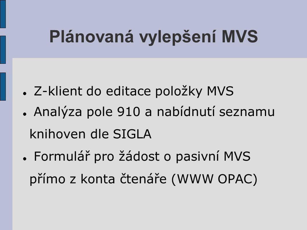 Plánovaná vylepšení MVS