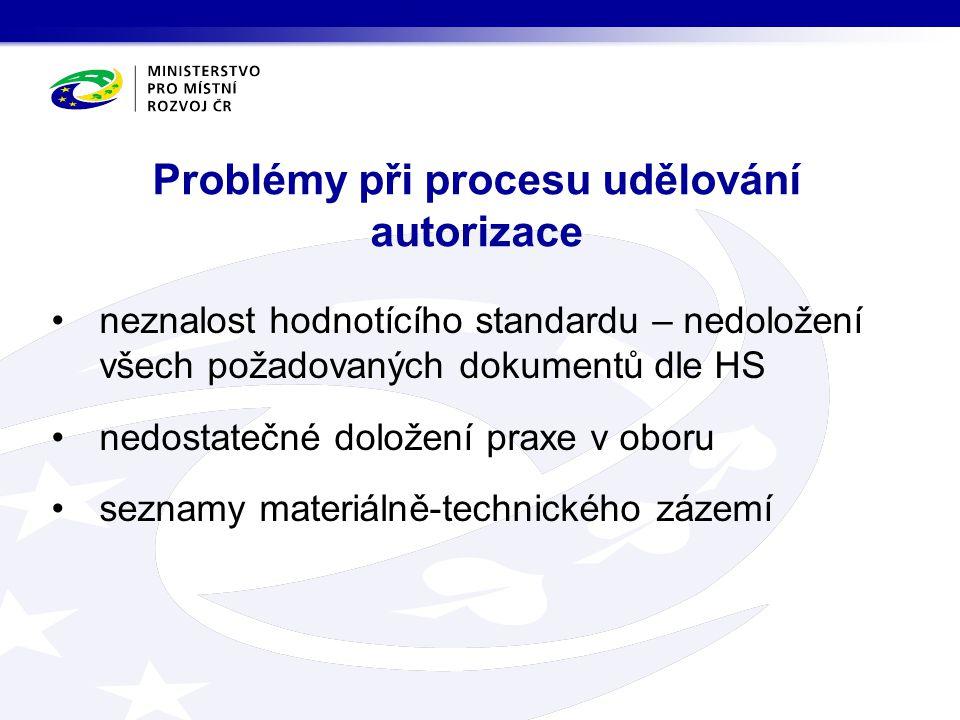 Problémy při procesu udělování autorizace