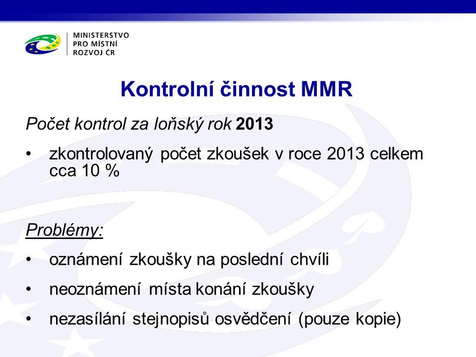 Kontrolní činnost MMR Počet kontrol za loňský rok 2013