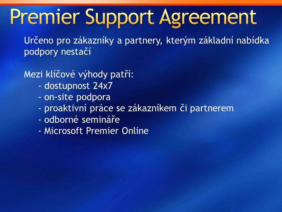 Premier Support Agreement