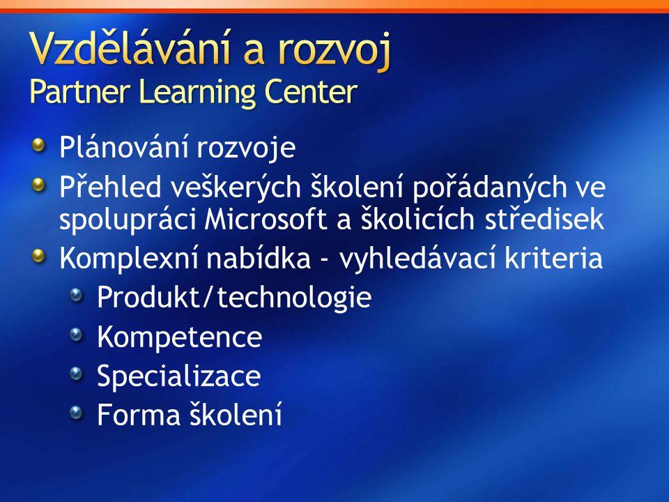 Vzdělávání a rozvoj Partner Learning Center