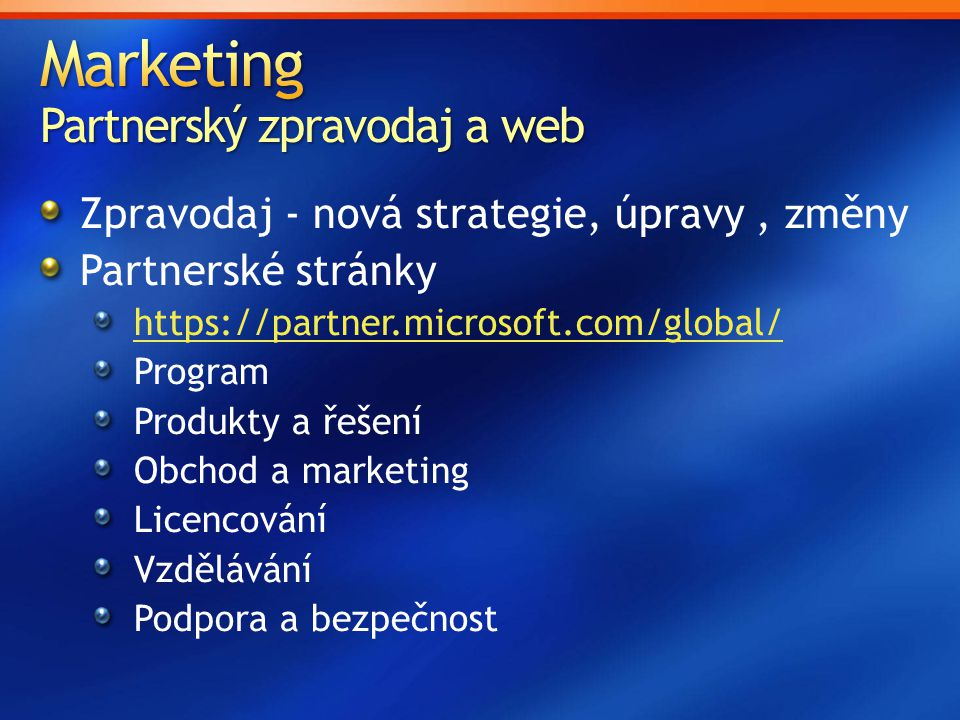 Marketing Partnerský zpravodaj a web