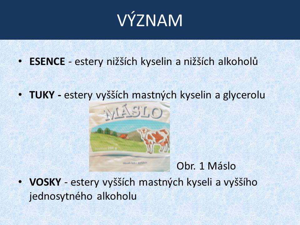 VÝZNAM ESENCE - estery nižších kyselin a nižších alkoholů