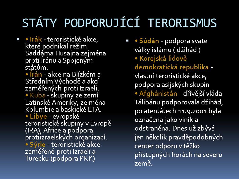 STÁTY PODPORUJÍCÍ TERORISMUS