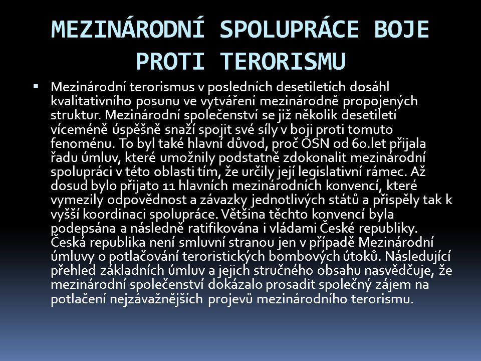 MEZINÁRODNÍ SPOLUPRÁCE BOJE PROTI TERORISMU