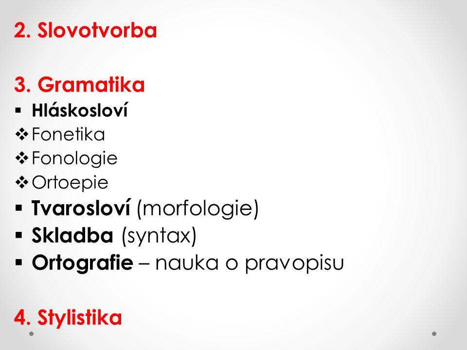 Tvarosloví (morfologie) Skladba (syntax)