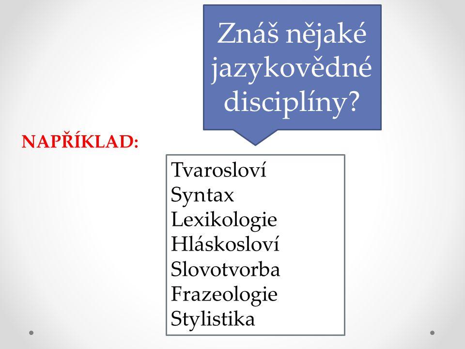 Znáš nějaké jazykovědné disciplíny