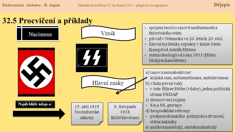 32.5 Procvičení a příklady Nacismus Vznik Hlavní znaky