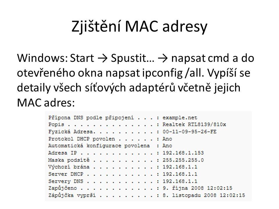 Zjištění MAC adresy