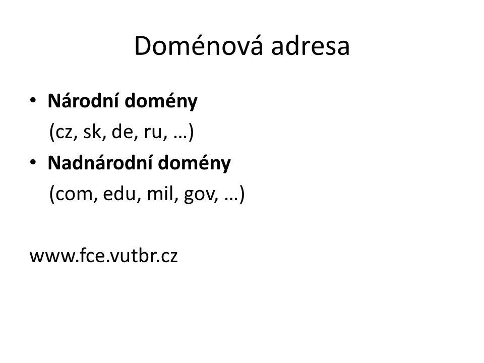 Doménová adresa Národní domény (cz, sk, de, ru, …) Nadnárodní domény